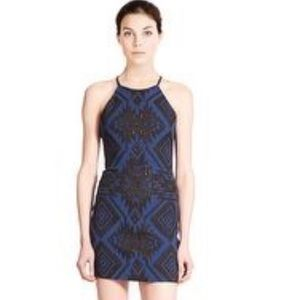 Parker Cocktail Blue Metallic Halter Top Dress